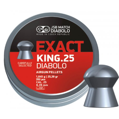 Пули JSB Diabolo EXACT KING cal .25 (6.35мм) 1.645 гр. (350шт.)